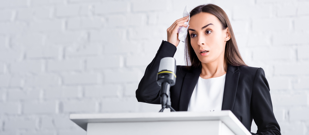 woman scared of public speaking